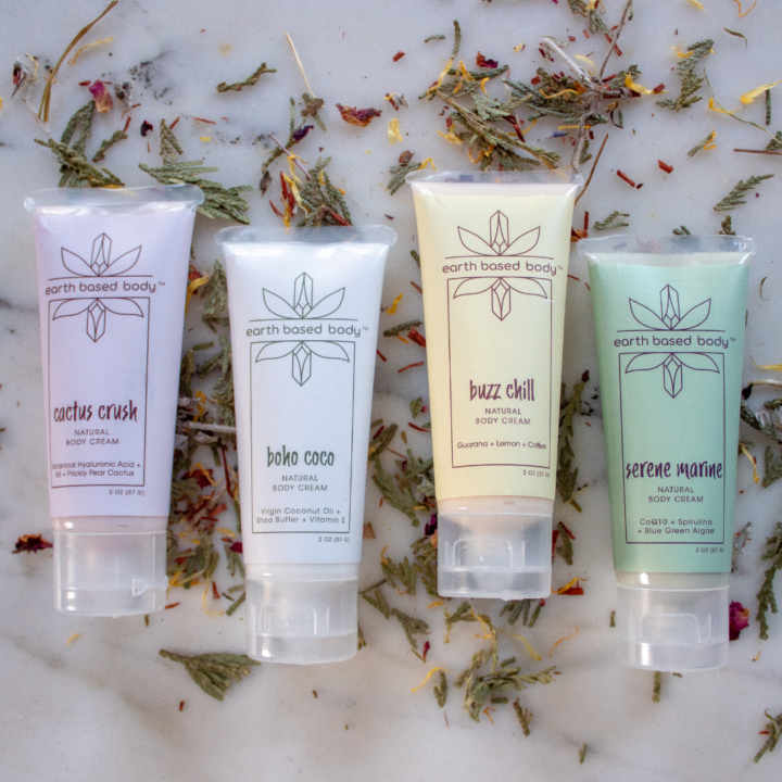 Natural Body Cream Minis on marble and potpourri